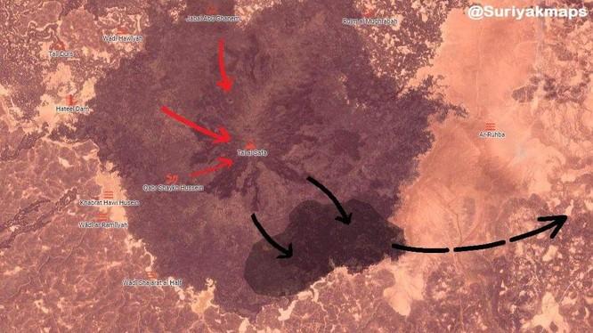 Bản đồ Al-Safa ngày giải phóng, quân đội Syria tiến công, IS tháo chạy về sa mạc tỉnh Homs. Ảnh minh họa Sywaida 24