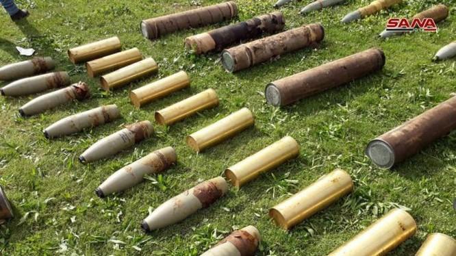 Những vũ khí mới được quân đội Syria phát hiện ở Damascus, Homs, Daraa. Ảnh minh họa SANA