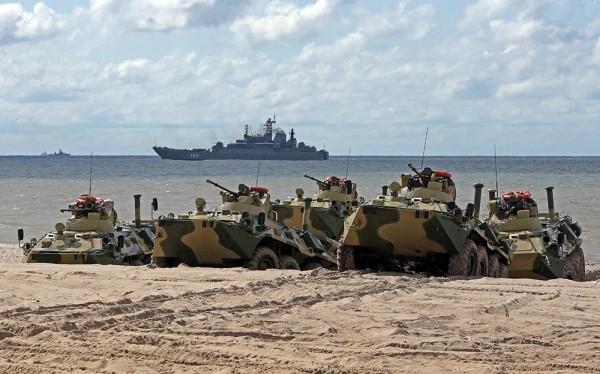 Xe thiết giáp đổ bộ BTR-80A tham gia chiến đấu trong lực lượng Hải quân Đánh bộ Nga. Ảnh minh họa Rusian Gazeta