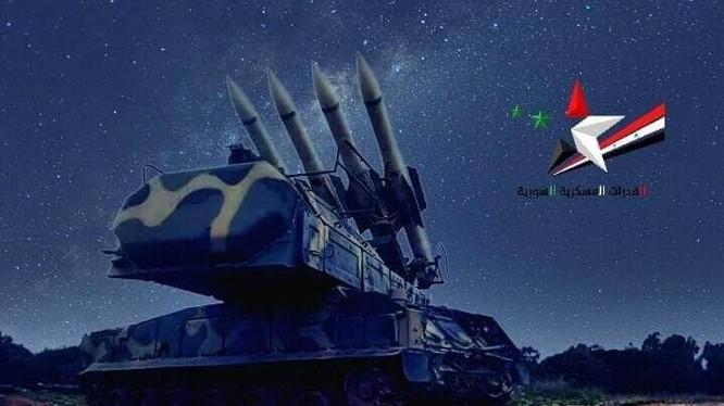 Tên lửa phòng không Syria. Ảnh cổ động tôn vinh sức mạnh của quân đội Syria.