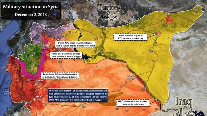 Bản đồ tình hình chiến sự Syria tính đến ngày 02.12.2018 theo South Front.