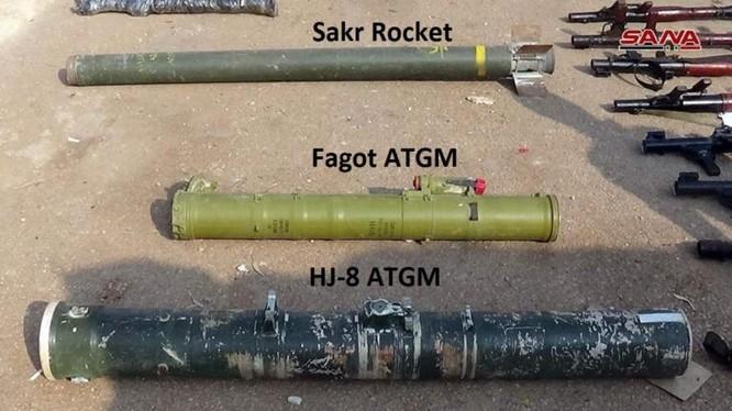 Các loại vũ khí chống tăng phát hiện được trên địa phận tỉnh Daraa. Ảnh minh họa: SANA.