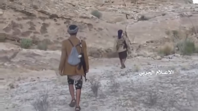 Những chiến binh Houthi trên lãnh thổ Ả rập Xê út. Ảnh minh họa video.