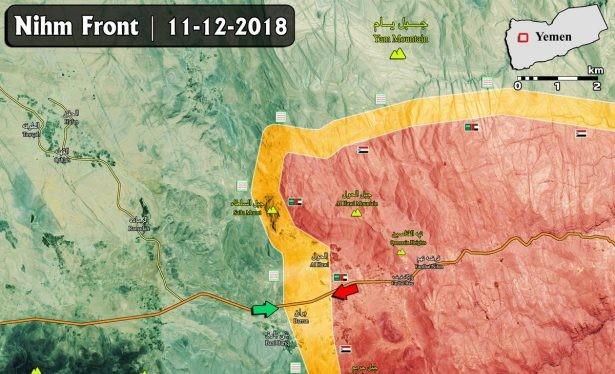 Cuộc tấn công của liên minh quân sự do Ả rập Xê-út dẫn đầu đánh vào quận Nihm trên bờ biển phía tây Yemen. Bản đồ: Masdar News.