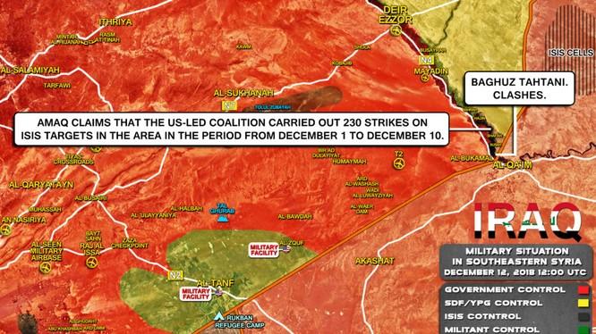Trong nửa đầu tháng 12, không quân liên minh tiến hành 230 cuộc không kích ở Deir Ezzor. Ảnh minh họa: South Front.