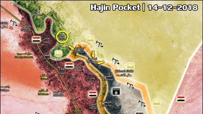 Lực lượng SDF đánh chiếm thị trấn Hajin, thung lũng sông Euphrates. Bản đồ: South Front.