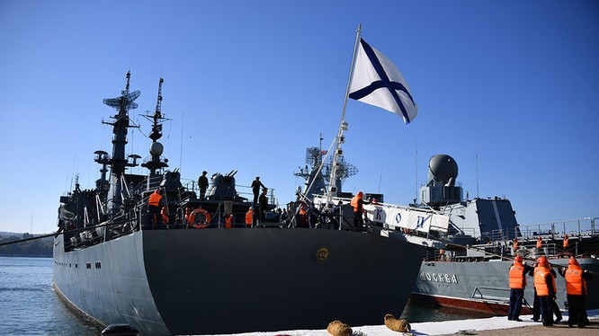 Hộ tống hạm của Hải quân Nga ở Vladivostok. Ảnh RIA Novosti.