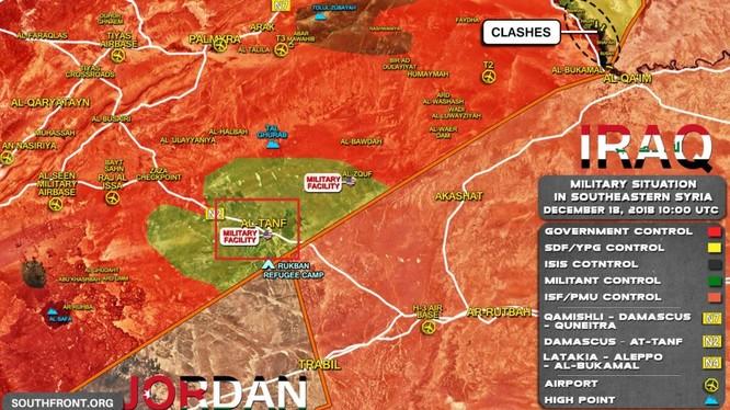Bản đồ căn cứ quân sự al-Tanf, khống chế vùng biên giới Iraq - Syria của quân đội Mỹ. Ảnh minh họa: South Front.