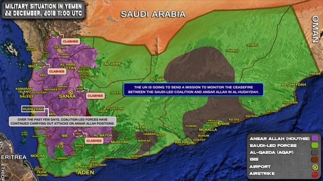 Tổng quan tình hình chiến sự Yemen tính đến ngày 22.12,2018, giao chiến tiếp tục diễn ra ác liệt ở miền tây quốc gia này. Ảnh minh họa: South Front.