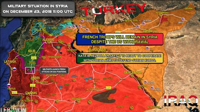 Tình hình chiến sự Syria tính đến ngày 23.12.2018. Ảnh South Front