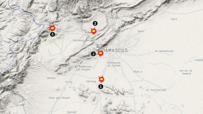 Các mục tiêu bị không quân Israel không kích.
