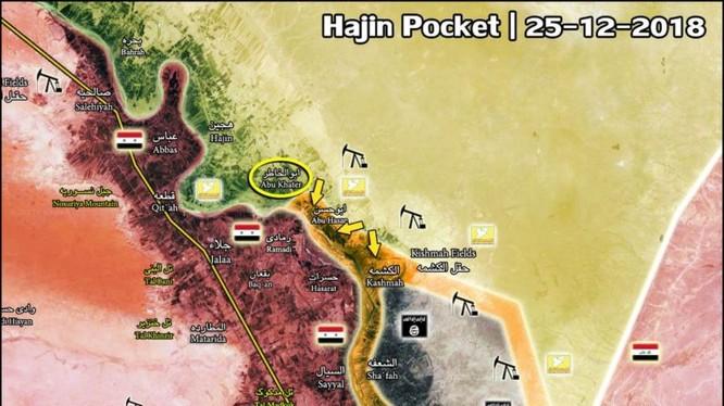 Chiến dịch tấn công giải phóng làng Abu Khatir của SDF. Ảnh: bản đồ South Front.