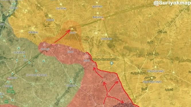 Quân đội Syria và quân cảnh Nga tiến vào làng Arima, phía tây thành phố Manbji do SDF kiểm soát. Ảnh: Muraselon.