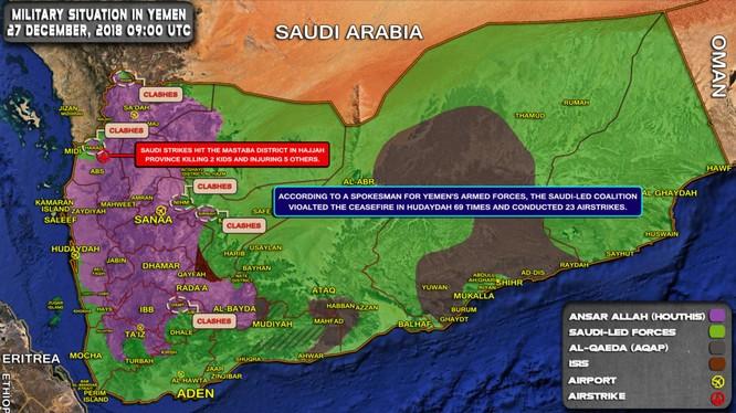 Chiến trường Yemen tính đến ngày 27.12.2018. Ảnh: South Front.