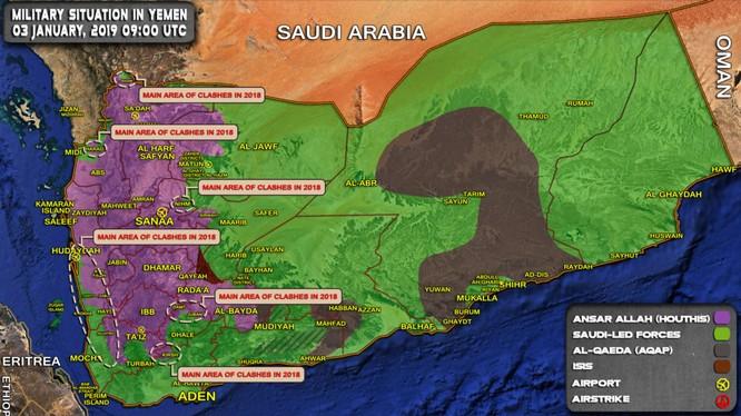 Tổng quan tình hình chiến sự Yemen, những cuộc tấn công vào vùng do Houthi kiểm soát. Ảnh: South Front.