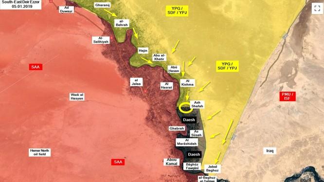 Lực lượng Dân chủ Syria tiến công đánh chiếm căn cứ địa, thị trấn al-Shafah trên thung lũng Deir Ezzor. Ảnh minh họa: Masdar News.