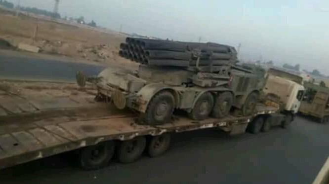 Pháo phản lực BM-27, được điều chuyển đến Hama, Idlib. Ảnh minh họa: Masdar News.