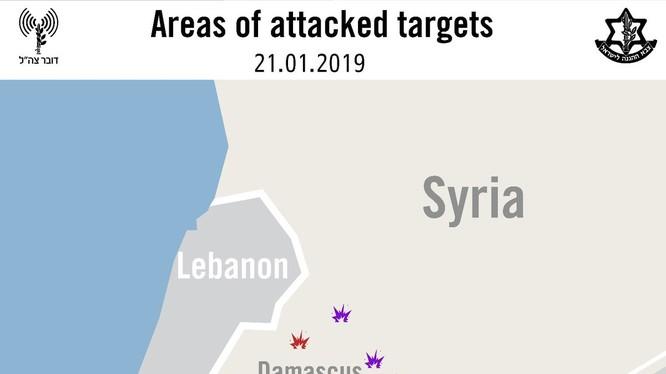 Những địa bàn bị không quân Israel không kích trên chiến trường Syria. Ảnh minh họa: tài khoản @IDF.