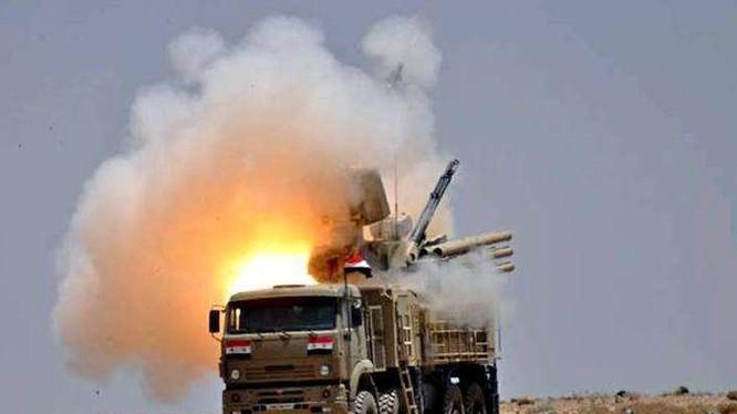 Tổ hợp tên lửa phòng không tầm gần Pantsir-S1 quân đội Syria. Ảnh Zvezda