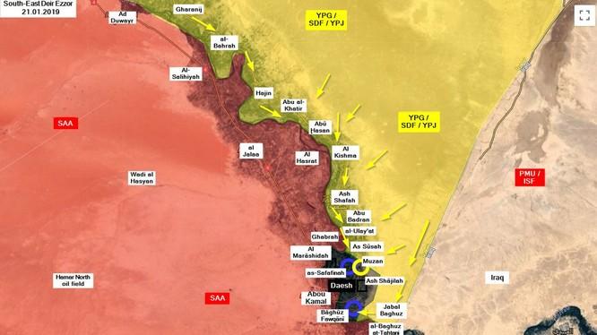 Toàn cảnh chiến trường Deir Ezzor, hướng tấn công của SDF. Ảnh minh họa: South Front.