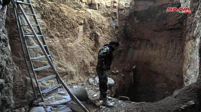 Đường hầm ngầm của lực lượng Hồi giáo cực đoan, phát hiện được ở ngoại ô Damascus. Ảnh: SANA.