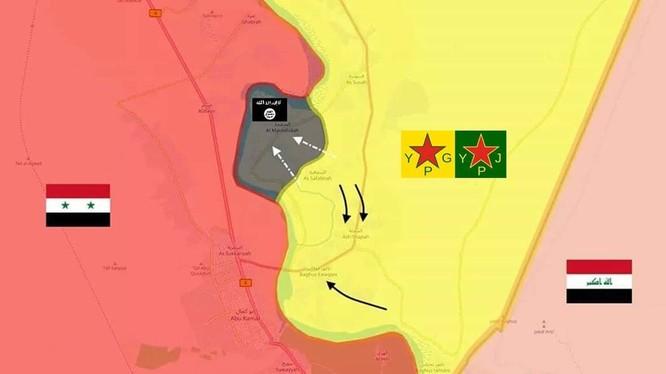 Vùng lãnh địa cuối cùng của IS trong khu vực bờ đông sông Euphrates, Deir Ezzor. Bản đồ: Masdar News.