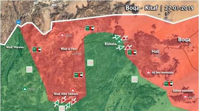 Bản đồ chiến sự vùng Kitaf, biên giới Yemen - Ả rập Xê-út. Ảnh: Masdar News.