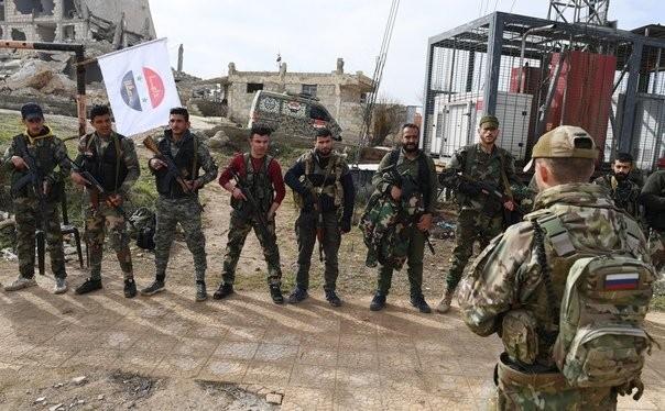 Lực lượng đặc nhiệm lữ đoàn quân tình nguyện Palestine Liwaa al-Quds ở Aleppo.