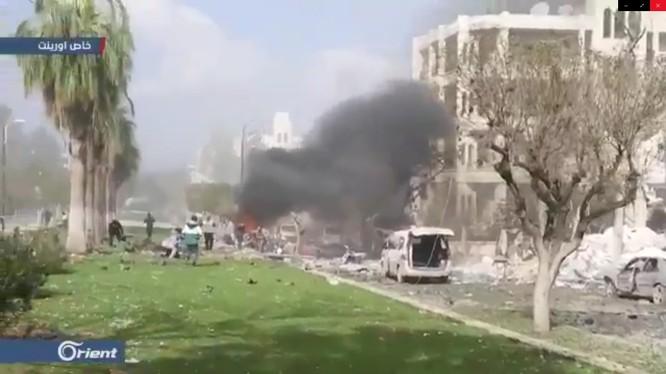Cận cảnh vụ đánh bom tự sát kinh hoàng ở Idlib, Syria.