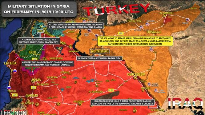 Tình hình chiến sự Syria tính đến ngày 19.02.2019 theo South Front.