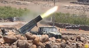 Pháo phản lực hạng nặng quân đội Syria dội lửa vào chiến tuyến thánh chiến ở Hama. Ảnh minh họa Masdar News