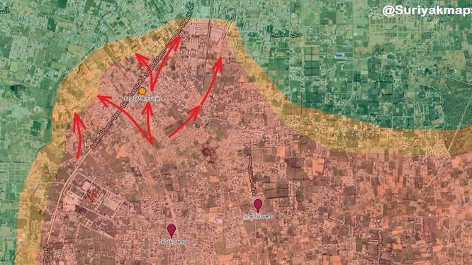 Lực lượng LNA tấn công trên hướng trại tị nạn N.Yarmook thuộc quận Khallat ngoại ô Tripoli.