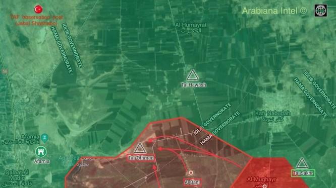 Bản đồ chiến sự miền bắc tỉnh Hama, Syria. Ảnh South Front