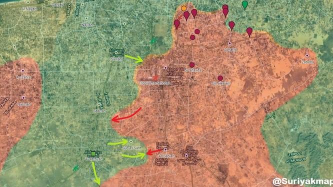 Tình hình chiến sự Libya tính đến ngày 10.05.2019 theo South Front, mầu xanh là GNA, màu đỏ là LNA