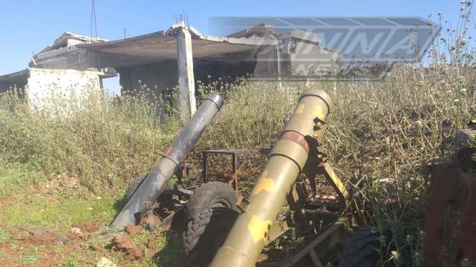 Súng cối tự chế quân đội Syria thu được trên chiến trường Hama. Ảnh minh họa Anna News