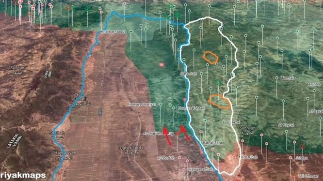 Các mũi tiến công của sư đoàn Tiger trên chiến trường miền bắc Hama. Ảnh minh họa Masdar News