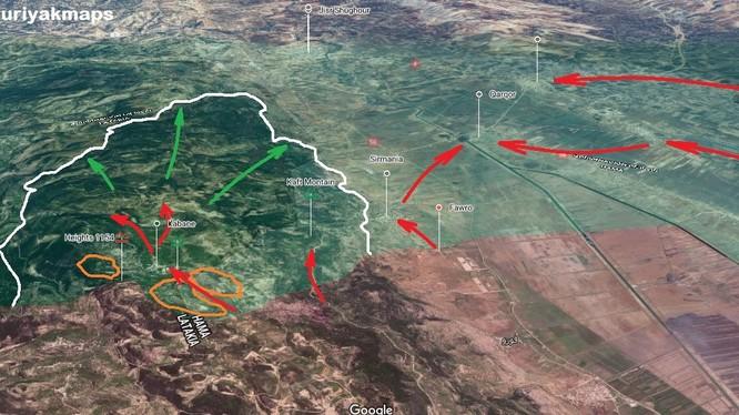 Kế hoạch tiến công của sư đoàn cơ giới số 4 Quân đội Syria trên chiến trường đông bắc Lattakia. Ảnh minh họa South Front