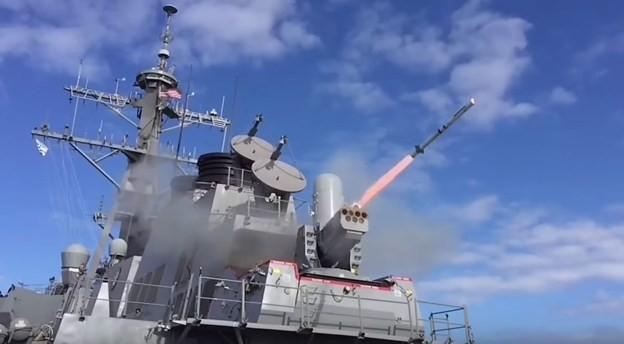 Hệ thống phòng thủ tên lửa chống hạm SeaRAM. Ảnh Raytheon