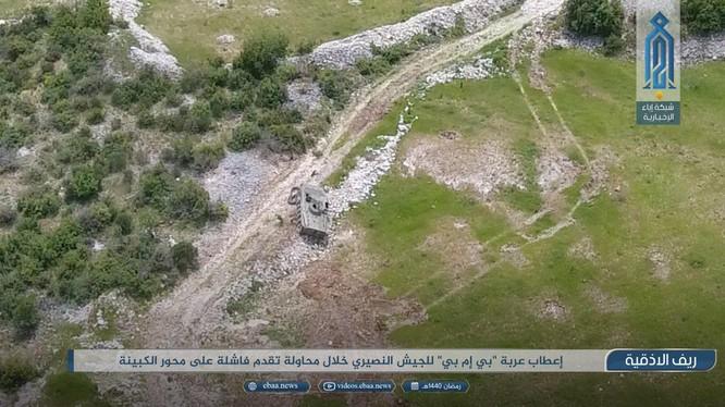Xe bộ binh chiến đấu của sư đoàn cơ giới số 4 bị bắn hỏng trên đường tiến vào thị trấn Kabani. Latakia