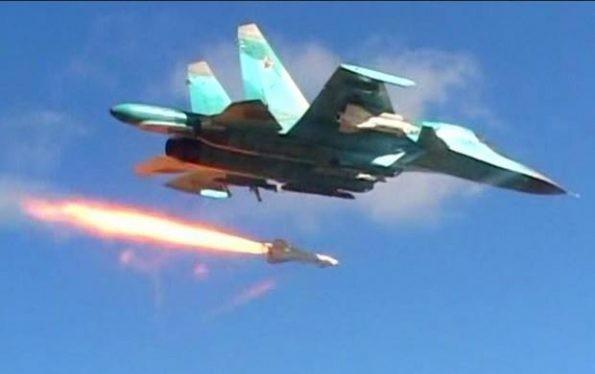 Máy bay ném bom Su-34 không kích trên chiến trường Syria, ảnh minh họa Masdar News