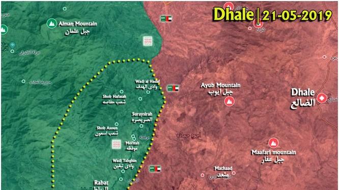 Lực lượng Houthi chiếm giữ 13 ngôi làng thuộc tỉnh Dhale ở Yemen. Bản đồ South Front
