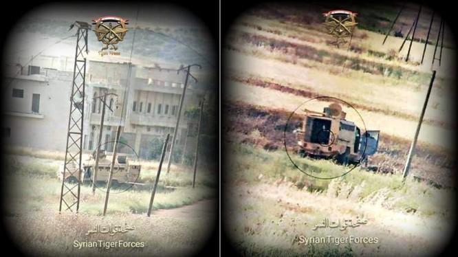 Xe thiết giáp Thổ Nhĩ Kỳ bị phá hủy trên chiến trường Hama. Ảnh truyền thông sư đoàn Tiger.