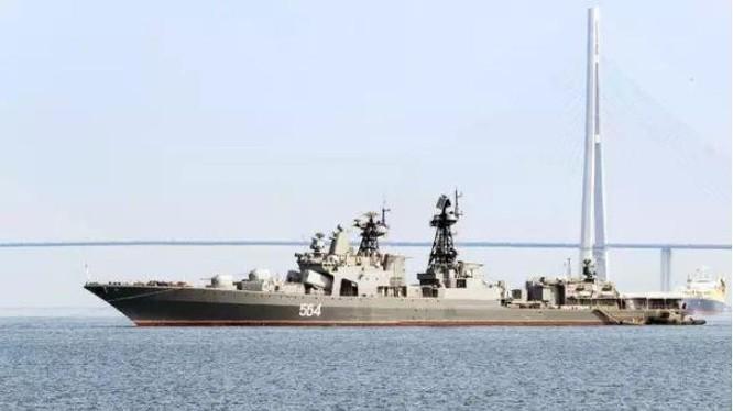 Tàu khu trục săn ngầm cỡ lớn Admiral Tributs lớp Udaloy Hạm đội Thái Bình Dương Nga. Ảnh: Báo Nhân Dân Trung Quốc.