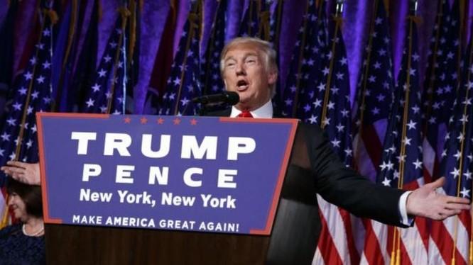 Ông Donald Trump phát biểu tại New York ngày 9/11/2016. Ảnh: Cankao