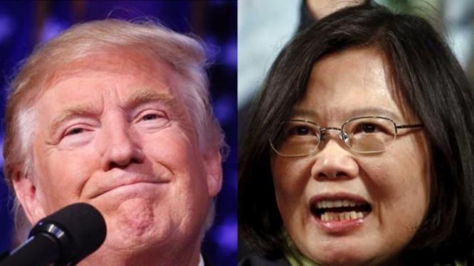 Tổng thống đắc cử Mỹ Donald Trump và nhà lãnh đạo Đài Loan Thái Anh Văn. Ảnh: guancha