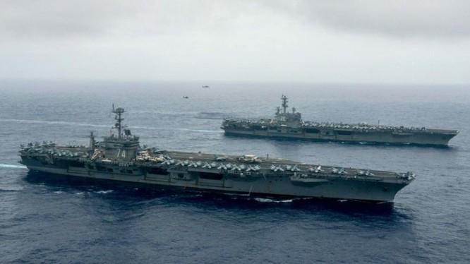Hạm đội tàu sân bay Hải quân Mỹ trên Biển Đông. Ảnh: Sina