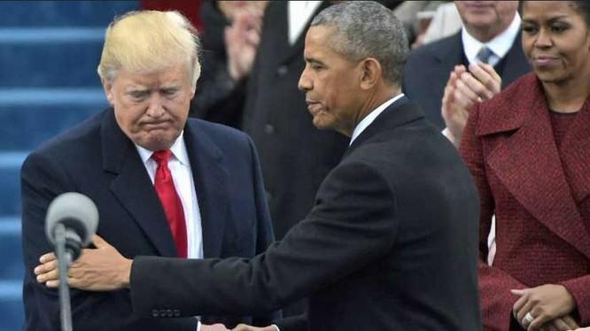 Ông Donald Trump và ông Barack Obama trong ngày 20 tháng 1 năm 2017 - ngày nhậm chức Tổng thống Mỹ của ông Donald Trump. Ảnh: CNN