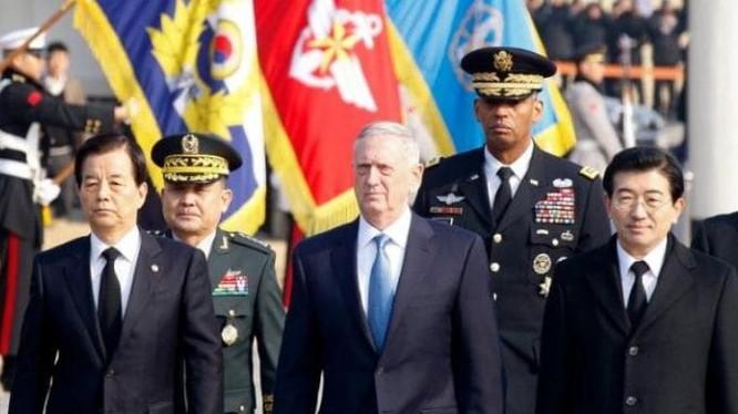 Bộ trưởng Quốc phòng Mỹ James Mattis trong chuyến thăm Hàn Quốc từ ngày 2 đến ngày 3 tháng 2 năm 2017. Ảnh: The Telegraph
