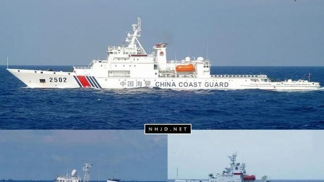 Ngày 26/12/2016, ba tàu cảnh sát biển mang số hiệu 2401, 2502 và 35115 Trung Quốc tiến hành xâm nhập lãnh hải đảo Senkaku. Ảnh: Sina