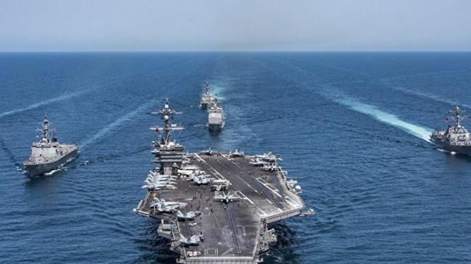 Cụm tấn công tàu sân bay USS Carl Vinson, Hải quân Mỹ. Ảnh: Sputnik